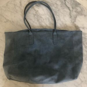 SAKS FIFTH AVENUE HOBO TOTE SUEDE LIGHT BLUE